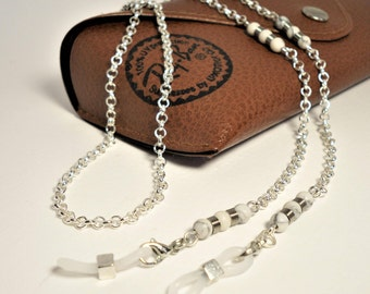 "Elegant Silver & Howlite Eyewear Chain 26-30"" ∫ Glasses Eyeglass Necklace ∫ Reading Glass Chain ∫ Sunglasses Lanyard Strap∫ Eyewear Chains"