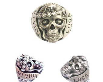 R13 Mi Vida Loca Ring (My Crazy Life) Sterling Silver Skull Day of the Dead Dia de los Muertos Ring