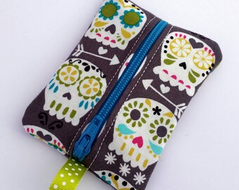 FREE SHIPPING UPGRADE with minimum -  Tiny zipper pouch / earbud case / earbud pouch /coin pouch | Happy Skulls