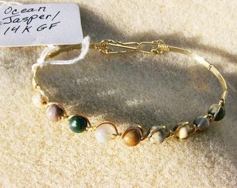 Ocean Jasper Bracelet - Wire Wrapped in 14K Gold, Multicolor Gemstone Beads by JewelryArtistry - BR475