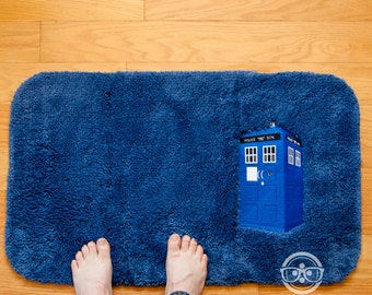Doctor Who Bath Mat or Rug - TARDIS - Embroidered Sci-Fi Bathroom or Kitchen Decor