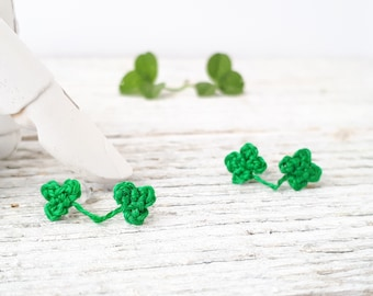 Lucky Clover Shamrock Earrings / St Patricks Day Gift / Good Luck Jewelry / Crocheted Miniature Clover / Charm Earrings