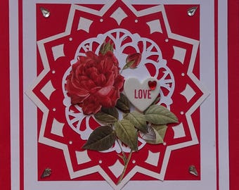 Valentine's Day card, LOVE message in a heart, red rose in 3D-st Valentine's day-Love-Love greeting card-