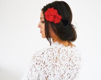 Hair accessory bridal Bohemian red flower, bridesmaids wedding headband, red flower headband
