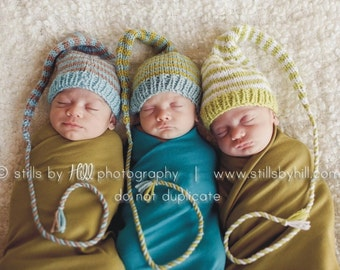 Newborn Knit Baby Hat BaBY PHoTO PRoP 1 Newborn Stocking Hat LoNG TAiL Boy Girl Beanie CoMiNG HoME HAT Pick Color Stripe Pixie MuNCHKiN CaP