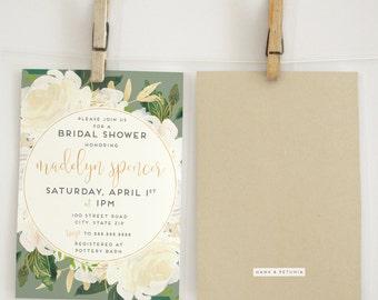 Ivory Watercolor Floral & Kraft Bridal Shower Invitation, Floral Bridal Shower Invite, Gold Bridal Shower Invite, Envelope Liner