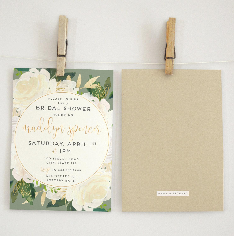 Ivory Watercolor Floral Kraft Bridal Shower Invitation Floral