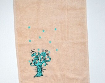 (Towel Terry) Guest Towel - embroidered tree of life-green