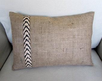 burlap lumbar pillow with decorative straw chevron trim 12 x 18