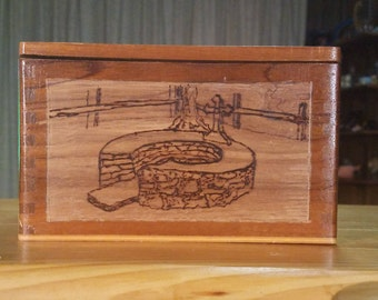 Pyrographed Upcycled Wood Cigar Box, One Image each on Left side and Right Side