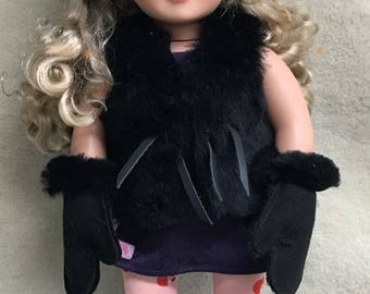 "Shearling Set for 18"" Dolls, 100% Shearling, Vest, Hat, Mittens and Boots"