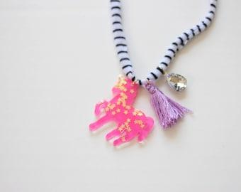 Hot Pink Unicorn Necklace