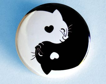 Yin Yang Cat Pinback Button - Kawaii kitten black white kitty funny cats cute cat gift adorable pin happy animal pet good luck chinese charm