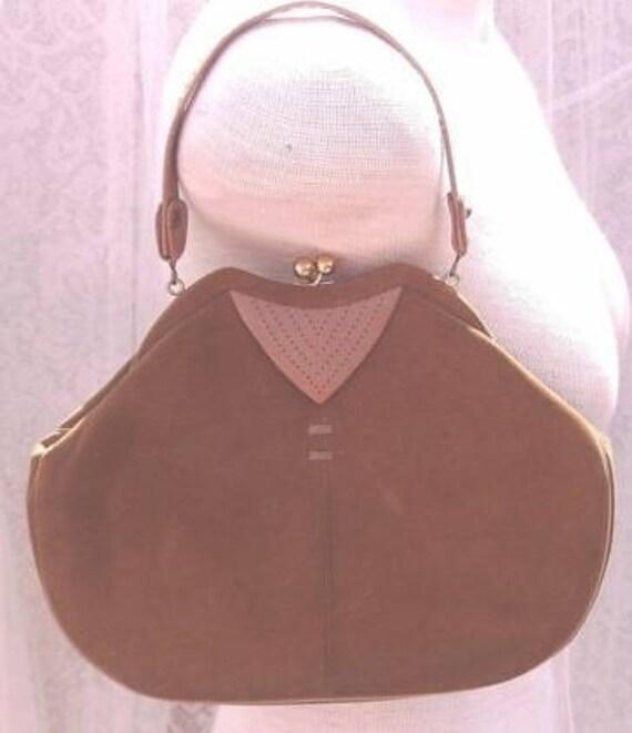 Two Tone Brown Vintage Suede Handbag by Stylecraft Miami