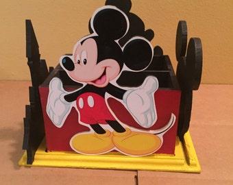 Mickey Mouse Napkin holder Utensil Caddy, center piece, Mickey birthday party