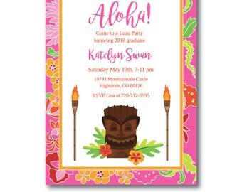 Luau Graduation Party Invitation, Hawaiian  Luau Grad Party Invite, HawIian Luau Invitation, Edit Now, Instant Download, Templett