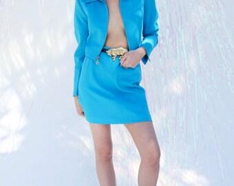 Vintage Georgiou Studio Blue Skirt Suit Size 2 Jacket Size 10 Skirt Baby Blue Skirt and Jacket Set