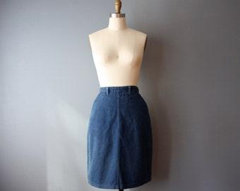 vintage denim mini skirt / 90s denim skirt / pencil mini skirt / small / sk4