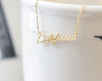 California state necklace, Gold California necklace, CA State Necklace, california monogram necklace