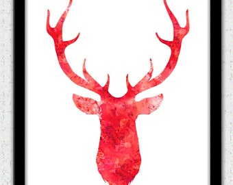 Red deer Instant Download, red stag digital art, deer head watercolor print, red deer head silhouette, red deer head painting, deer print