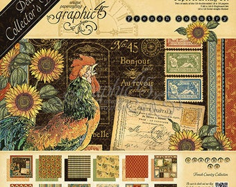 Graphic 45 French Country Deluxe Collector's Set Includes 12 x 12 Scrapbook Paper Pad,  12 x 12 Sticker Sheet & Chipboard Tags Ready To Ship