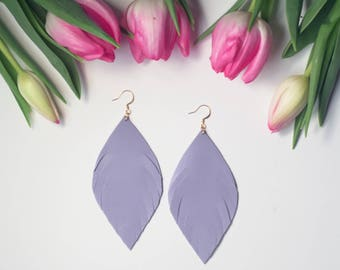 Lilac Leather Feather Earrings