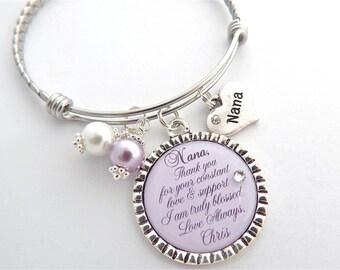 Nana of the Bride Gift, Nana of the Groom Bracelet, wedding keepsake, Nana Thank you, Grandma of the Bride, Grandmother Bridal Party Gift