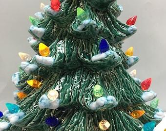 "Handmade ceramic 16"" Christmas Tree with snow and green base"