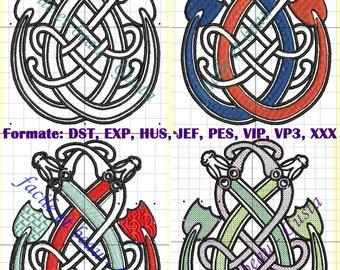 Stickdatei Keltischer Drachen verschlungen in 4 Varianten