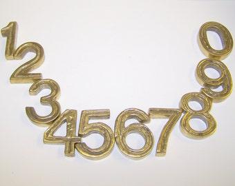 set of 10 SOLID BRASS NUMBERS  Handmade in Austria
