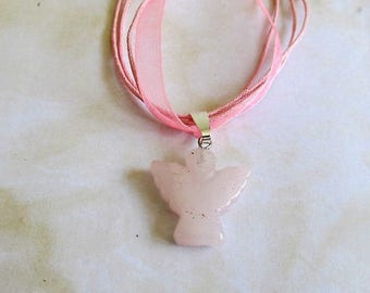 Hand carved ROSE QUARTZ-gemstone-Angel-pendant- choice of necklace-healing stone-special gift for that special person-SA9