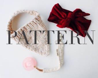 Knitted Drool Bib PATTERN // Knitting Pattern, Baby Drool Bib, 3-12 months