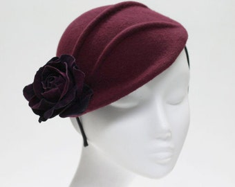 The Kiru Hat - Burgundy Cocktail Hat w/ Rose & Pintuck Detail - Winter Races Headpiece