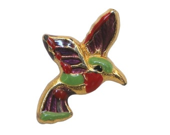 2 Hummingbird 3/4 inch ( 20 mm ) Metal and Resin Shank Buttons Multi-color