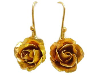Forged 18k Gold Rose Earrings - Small, French Hook, Dangle, Yellow Gold, Rose Gold, Romantic, flower jewelry, bridal, gift for her