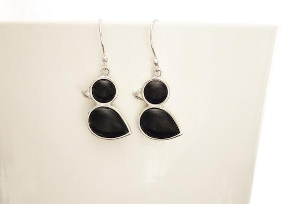 Birdy Earrings - Sterling Silver, Bird, Duck, Black Onyx, Dainty Jewelry, Dainty Pendant, Cute Jewelry, Kawaii, Animals Jewelry, 925.