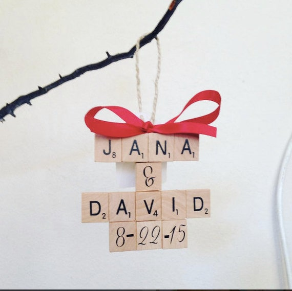 Anniversary/Engagement CUSTOM crossword tree ornament, shabby chic, scrabble christmas, scrabble fan, jingle bells, cute ornament