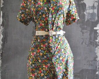 Floral Button Down Romper, Large; Short Sleeve Jumper; Romper in Flower Print