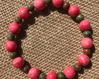 Pink Shell and Green Unakite Bracelet