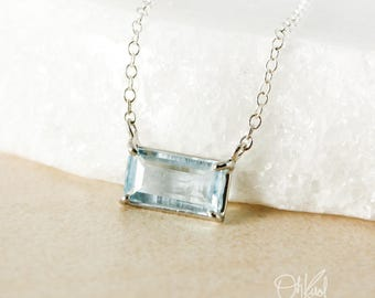 Gem Grade Silver Blue Aquamarine Bar Necklace - March Birthstone - Aquamarine Pendant