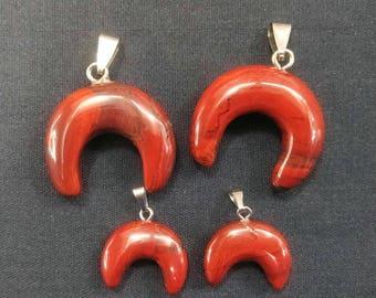 10pcs/lot Natural Red Jasper Stone Double Horn Pendant,Crescent Moon Pendant,Ox Horn Pendant,Moon Pendant,Crescent Moon charm,mens pendant