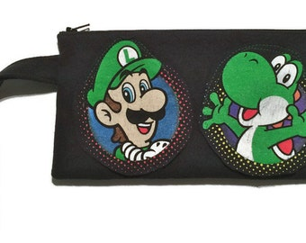 Luigi Bag • Upcycled Super Mario Brothers Clutch • Nintendo Gift