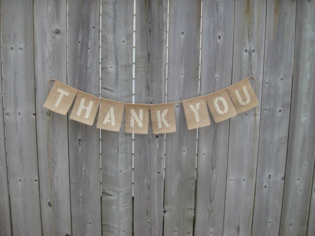 Thank You Burlap Wedding Sign Garland For Photo Props And