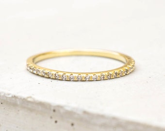 Thin 1.4mm Eternity Band Ring - Gold - Half Band or Full Band Stacking Ring