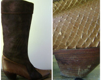 snake skin slouch boots - vintage 80s size 38 US 7 1/2 - designer mauo frizon - tall brown leather slouchy boots - hipster boho glam - 1980s