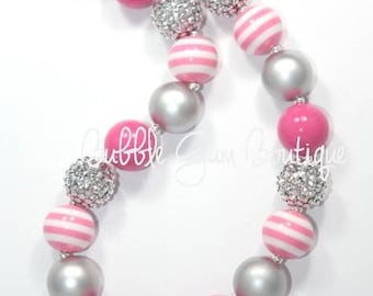Pink and Silver Bubble Gum Necklace