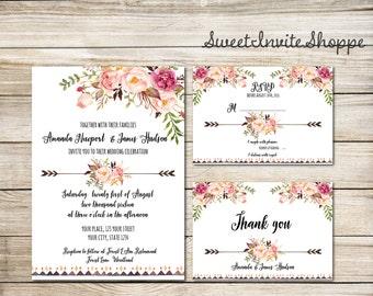 Floral Wedding Invitation, Boho Wedding Invitation Set, Rustic Wedding, Tribal Wedding Invitation, Watercolor Floral Invitation Suite