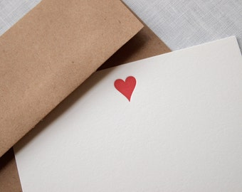 Heart Letterpress Stationery - Set of 6 Flat Notes
