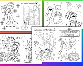 Elmo Birthday Party coloring pages, Elmo activity book, PDF file