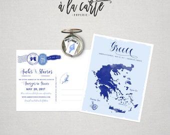 Destination wedding save the date postcard Greece Map Greek Island Amogros other venues Paros Naxos Rhodes Crete Santorini DEPOSIT PAYMENT